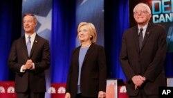 올해 대통령 선거에 도전하는 민주당 경선 후보들이 17일 사우스캐롤라이나 주에서 TV토론회를 가졌다. 왼쪽부터 마틴 오말리 전 메릴랜드 주지사, 힐러리 클린턴 전 국무장관, 버니 샌더스 상원의원.