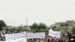 在敘利亞哈馬的抗議現場