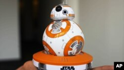 "FILE - Sphero's BB-8 droid toy, inspired by ""Star Wars: The Force Awakens"""