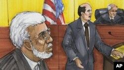 速寫畫顯示拉納(左)2011年六月七日在芝加哥法庭出庭
