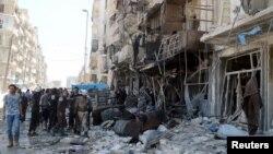 Bombardements dans les environs d'Alep en Syrie. (Reuters/Abdalrhman Ismail)