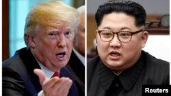 美國總統川普(左)與北韓領導人金正恩(右)