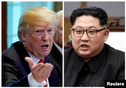 FILE - A combination photo shows U.S. President Donald Trump, left, in Washignton, May 17, 2018, and North Korean leader Kim Jong Un in Panmunjom, South Korea, April 27, 2018.