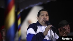 Venezuelan President Hugo Chavez speaks after arriving from Cuba, at Simon Bolivar airport in Caracas late in the evening May 11, 2012.