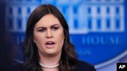 새라 허커비 샌더스 백악관 대변인이 2일 정례브리핑에서 미국의 대북 정책에 관해 언급했다.
