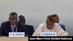 Former Nigerian President Olusegun Obasanjo (R) addresses a special UN Human Rights Council session on South Sudan in Sept. 2014, as South Sudan Justice Minister Paulino Waniwilla Unango listens.
