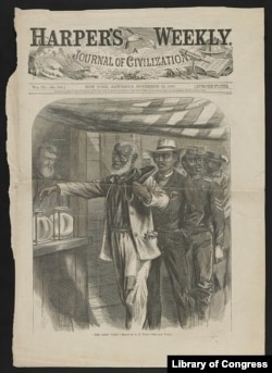 """The first vote."" drawn by A.R. Waud. Activists in the women's rights movement noted that the 15th Amendment marked the first time the Constitution clearly gave a right to men and not to women."