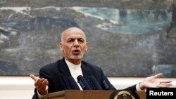 លោកប្រធានាធិបតីអាហ្វហ្គានីស្ថាន Ashraf Ghani ថ្លែងនៅក្នុងសន្និសីទកាសែតមួយនៅក្នុងក្រុងកាប៊ុល ប្រទេសអាហ្វហ្គានីស្ថាន កាលពីថ្ងៃទី១៥ ខែកក្កដា ឆ្នាំ២០១៨។