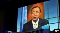 联合国秘书长潘基文通过视频发表讲话