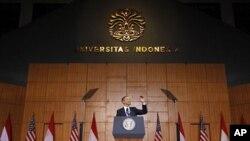 인도네시아 대학교에서 연설하는 오바마 대통령