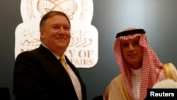 U.S. Secretary of State Mike Pompeo with his Saudi counterpart Adel al-Jubeir in Riyadh, Saudi Arabia, Apr. 29, 2018.