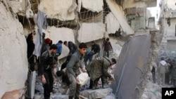 ສ່ວນນຶ່ງຂອງເມືອງ Aleppo ທີ່ກອງທັບຊີເຣຍ ຖິ້ມລະເບີດໃສ່.