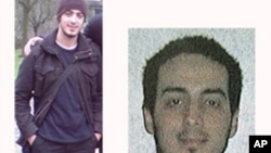 In this undated combination photo provided by the Belgian Federal Police in Brussels on Monday, March 21, 2016, suspect Najim Laachraoui is shown.