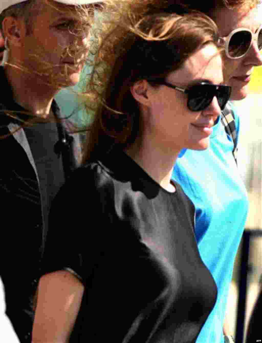 American actress and Goodwill Ambassador for the United Nations High Commissioner for Refugees (UNHCR) Angelina Jolie arrives at Hatay's airport in Turkey on Friday June 17, 2011. Jolie traveled to Turkey's border with Syria to meet some of the thousands