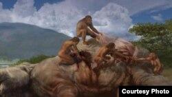 Gambar artis menunjukkan nenek moyang manusia (homo erectus) membunuh seekor gajah di kawasan Afrika sekitar 1.2 juta tahun yang lalu (foto: ilustrasi).