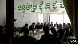 FILE: Cambodia's National Election Committee members meet with EU and Japan Ambassadors in Phnom Penh on Friday, April 24, 2015. (Neou Vannarin/VOA Khmer)