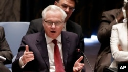 FILE - Russian Federation Ambassador Vitaly Churkin addresses the United Nations Security Council.