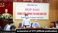 Thứ trưởng Nội vụ Nguyễn Duy Thăng họp báo, 19/7/2021.