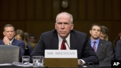 CIA Director nominee John Brennan defends President Barack Obama's policies in the war on terror as he testifies on Capitol Hill in Washington, February. 7, 2013, during his confirmation hearing before the Senate Intelligence Committee.