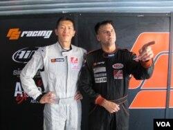 车手王日升和奥尔森在珠海为儿童慈善基金代言(2013年9月15日)