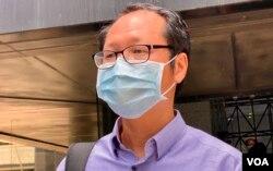 支聯會秘書蔡耀昌表示,同香港人分享16個字:不亢不卑,坦然面對,初心不改,信念長存(美國之音/湯惠芸)