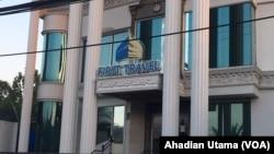 Bangunan yang dulu dijadikan Kantor First Travel di Jl.Radar Auri Depok. (Foto: VOA/Ahadian Utama)
