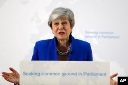 테레사 메이 영국 총리가 21일 브렉시트 합의안과 관련해 연설하고 있다.