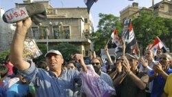 هواداران بشار اسد در اعتراض به دیدار رابرت فورد سفیر آمریکا و اریک شوالیه سفیر فرانسه، در مقابل سفارت آمریکا در دمشق دست به تظاهرات زدند. ۸ ژوئیه ۲۰۱۱