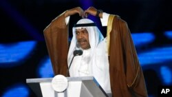 FILE - Then Olympic Council of Asia president Sheikh Ahmad al-Fahad al-Sabah gestures as he addresses the closing ceremony for the 18th Asian Games in Jakarta, Indonesia, Sept. 2, 2018.
