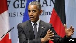 美國總統奧巴馬出席七大工業國峰會後的記者會