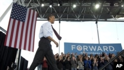 Presiden Barack Obama tiba di Henry Maier Festival Park, Milwaukee, untuk berkampanye pada akhir pekan ini (foto: 22/9/2012).