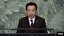 PM Jepang Yoshihiko Noda saat memberikan pidato di depan Majelis Umum PBB (23/9).