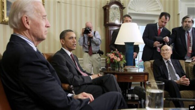 President Barack Obama and Vice President Joe Biden meet with the co-chairmen of the president's deficit reduction commission, including Alan Simpson, right, in the Oval Office of the White House in Washington, April 14, 2011