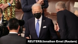 USA, U.S. President Joe Biden arrives to deliver his first address to a joint session of the U.S. Congress