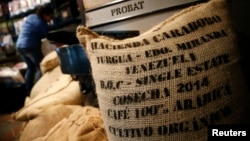 A Venezuelan coffee beans bag is seen at a roaster in Caracas, Feb. 26, 2015.