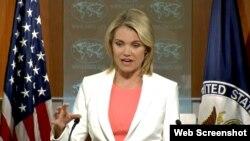 헤더 노어트 미국 국무부 대변인이 3일 정례브리핑에서 대북정책 등에 관해 설명하고 있다.