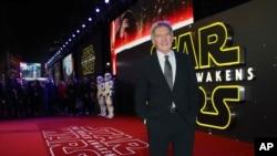 Harrison Ford saat tiba di pemutaran perdana film 'Star Wars: The Force Awakens ' di London, Desember 2015.