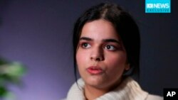 In this image made from a video, Rahaf Mohammed al-Qunun, Saudi woman accepted as a refugee in Canada, is interviewed in Toronto, Jan. 14, 2019. (Australian Broadcasting Corporation via AP)