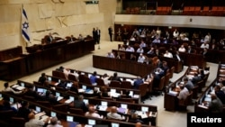 FILE - A general view shows the plenum during a session at the Knesset, the Israeli parliament, in Jerusalem July 11, 2016.