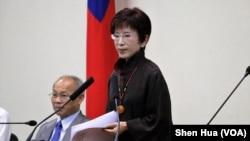 2017年6月14日台湾中国国民党主席洪秀柱宣布6月30日辞去党主席职务(美国之音记者申华 拍摄)