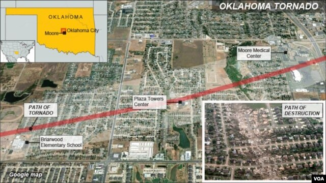 Path of tornado, click to enlarge