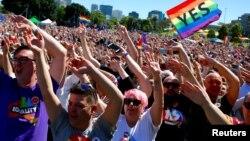 Manifestations de partisans du mariage gay, Sidney, Australie, le 15 novembre 2017
