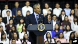 美國總統奧巴馬與越南年輕人進行交流後。