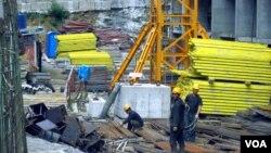 러시아 블라디보스톡의 북한 근로자들. (자료사진)