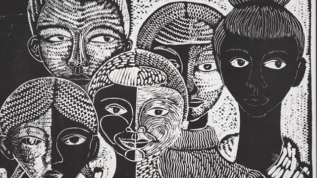 Art in the Kinsey Collection includes this 1990 woodcut 'The Faces of My People' by artist Margaret Burroughs