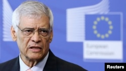 OPEC Secretary General Abdullah al-Badri speaks during a joint news conference with European Union Energy Commissioner Guenther Oettinger (unseen) at the EU Commission headquarters in Brussels, Belgium, June 24, 2014.