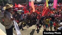 乌坎村民集会抗议当局抓捕村长林祖恋(推特图片)