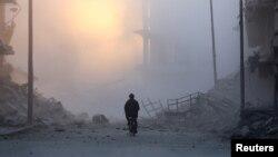 敘利亞阿勒頗市東部一片廢墟