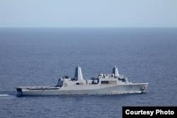 美國海軍梅薩維德號兩棲運輸艦2016年10月9日抵達海地參與救災 (美國海軍陸戰隊照片)