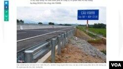 Địa điểm xảy ra hiện tượng thấm dột từ nền đường cao tốc xuyên qua cầu chui. Ảnh: Quảng Đà. (Hình: Trích xuất từ Zing)